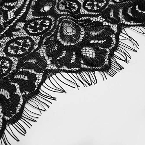 Zainafacai Nightgown Set,Sexy Bow Plus Size Eyelash Lace Trim Robe + Belt Sleepwear Kimono Lingerie Underwear Black by Zainafacai Women lingerie (Image #5)