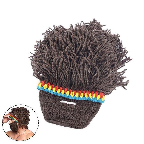 Invierno sombrero barba tejer pelo de lana gorro sombrero tejer sombrero de invierno caliente sombrero de