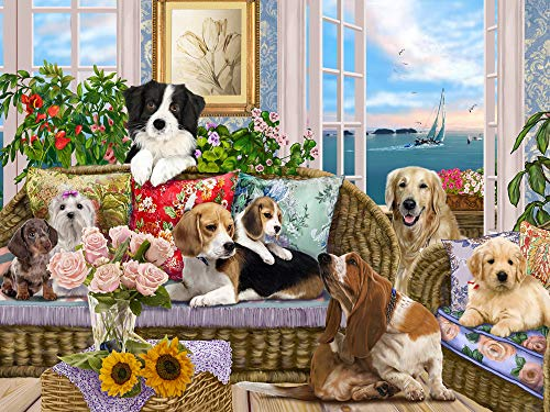 Vermont Christmas Company Dogs on The Sofa Jigsaw Puzzle 550 Piece