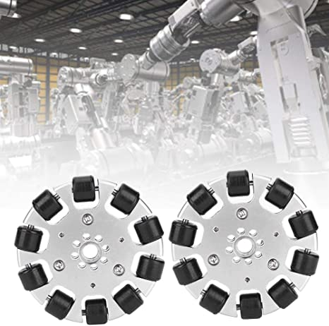 10pcs Driven Roller Industrial Robot Parts Metal Wheel + Neoprene Roller Fafeicy 2Pcs 3in Omnidirectional Wheel for Self-Stabilizing Hand Truck