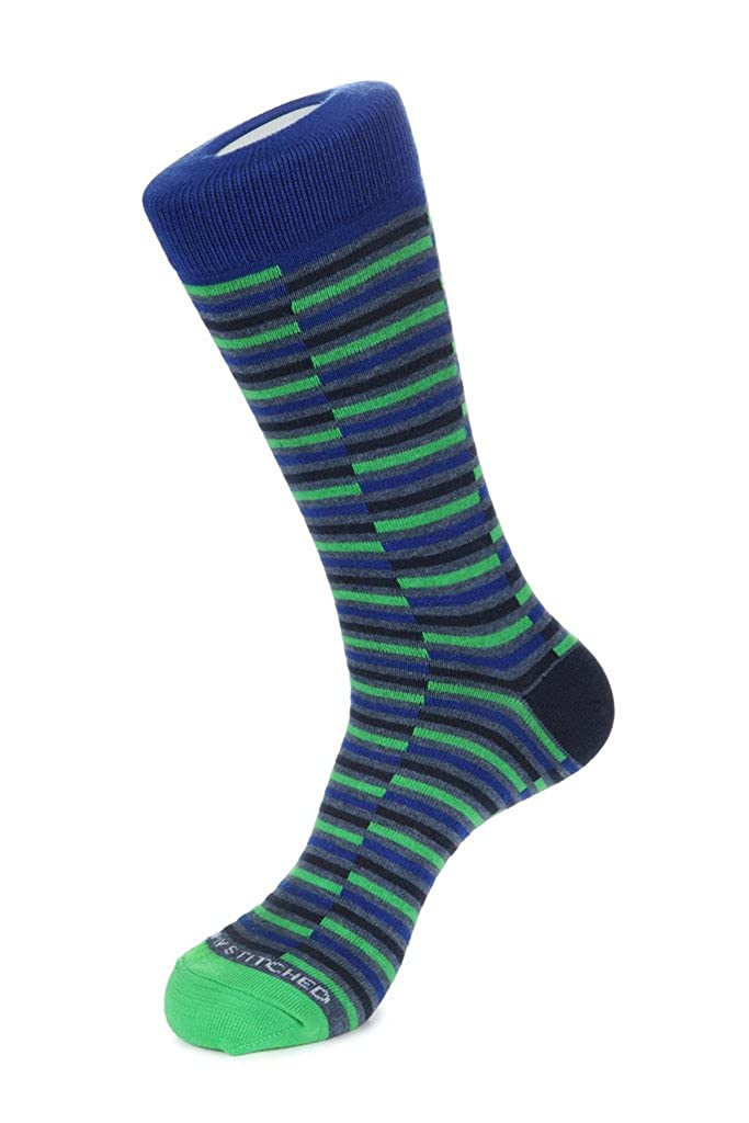 Unsimply Stitched 3 Color Mosaic StripeCrew Sock Fits Size 8 to 13 Blue//Green