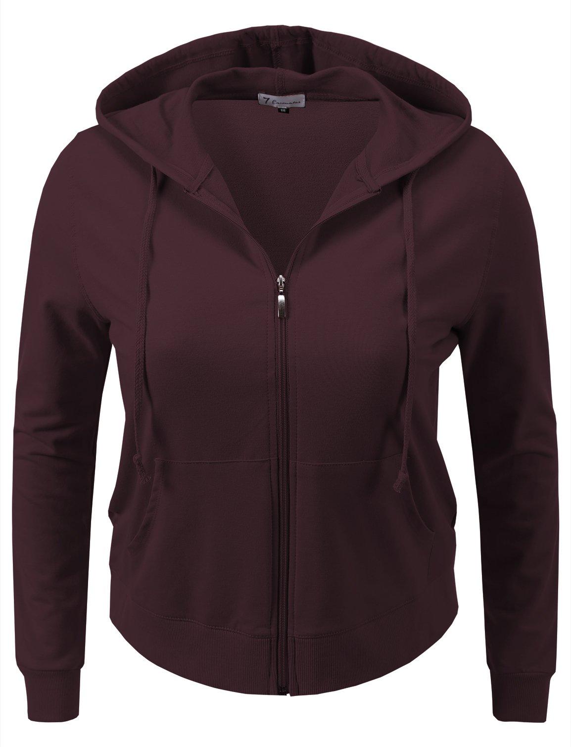7 Encounter Women's Plus Size Basic Zip-up Hooded Jackets (2X-Large, Burgandy)