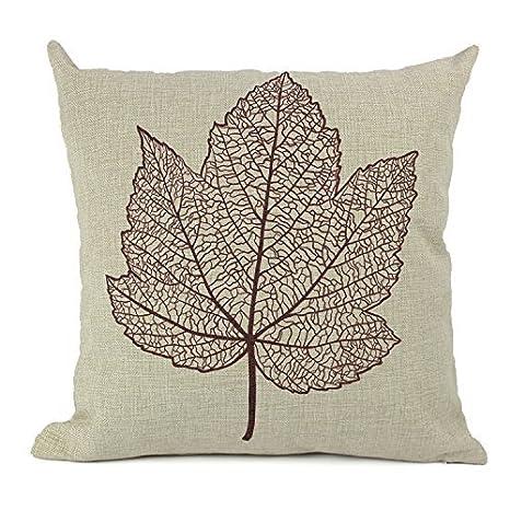 Jastore® hoja de lino y algodón sofá silla funda de almohada ...