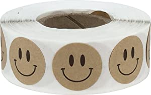 Natural Brown Kraft Happy Face Labels 0.75 Inch 500 Total Adhesive Stickers