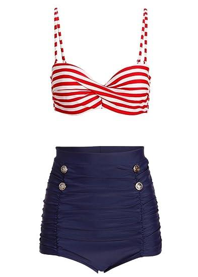 0298bac0c7b83d Amazon.com: Pretty Attitude Womens Nautical Sailor High Waist Retro Vintage  Two-Piece Swimsuit – Size Medium: Clothing