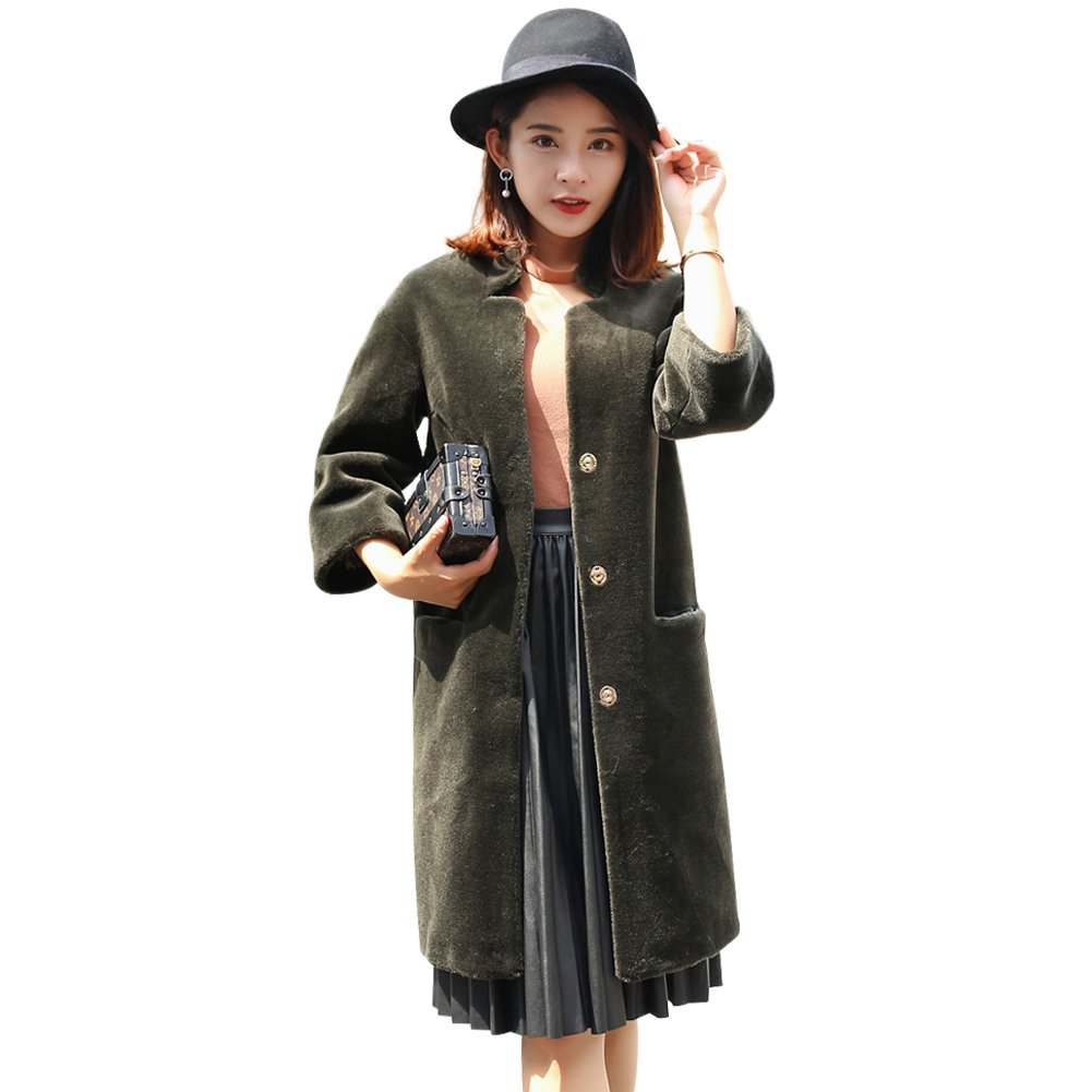 MINGCHUAN Women's Real Lamb Coat Warm Fashion Shearling Long Coat Winter Warm Jacket Outwear Stand up Collar