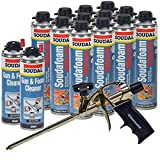 Soudal PRO Fireblock Foam Sealant 24 oz can (12 Cans), Professional Foam Gun, 2 cans of gun cleaner