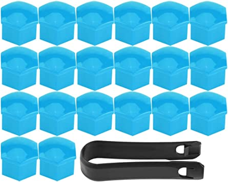 Blue 20Pcs Universal Wheel Tyre Hub Covers Lug Nut Bolt Cap Covers Nut Protector Cap Muilti Color Optional