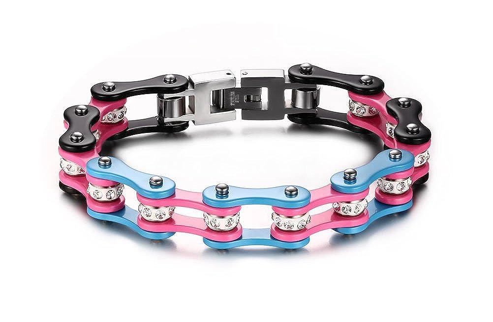 Vnox Pulsera de la cadena de la bici de los hombres pesados del acero inoxidable de la joyer/ía para los hombres,rosado y negro