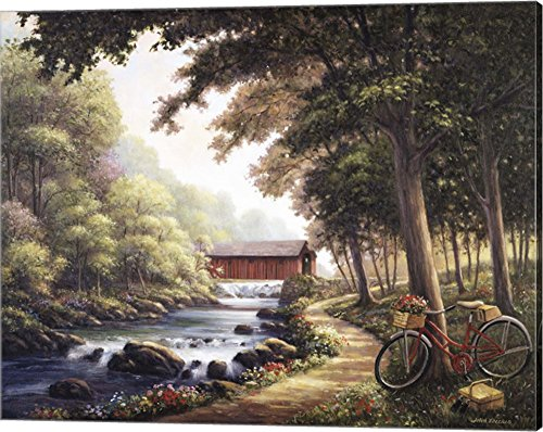 Covered Bridge Picture (The Covered Bridge by John Zaccheo Canvas Art Wall Picture, Gallery Wrap, 20 x 16 inches)