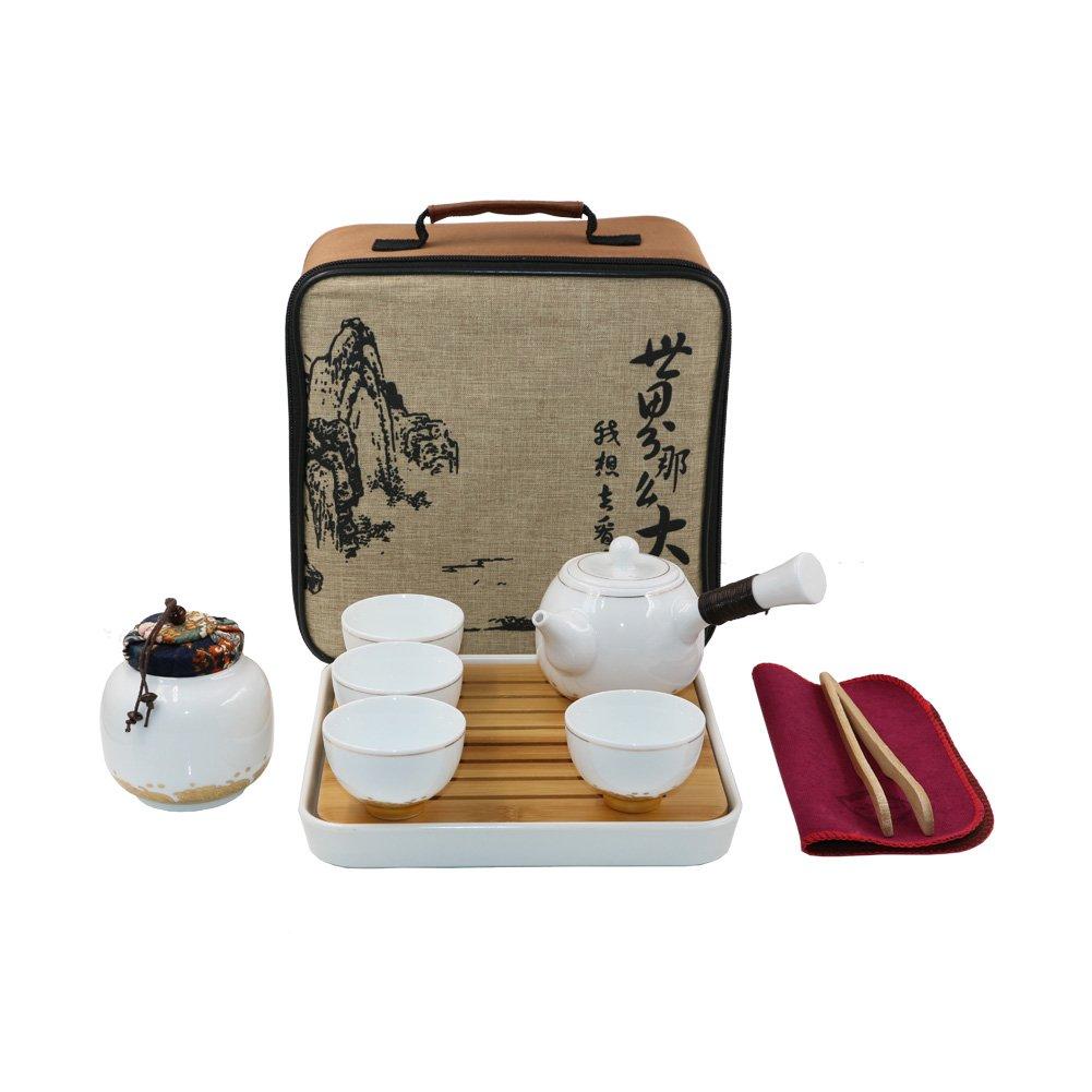 Tragbare Reise Kung Fu Tee-Set Chinese/Japanese Style, handgemachte Keramik Teekanne & 2 Schüsseln & Bambus Tee Behälter und Beutel (Hellgrün) T Tocas BKTS599-GN