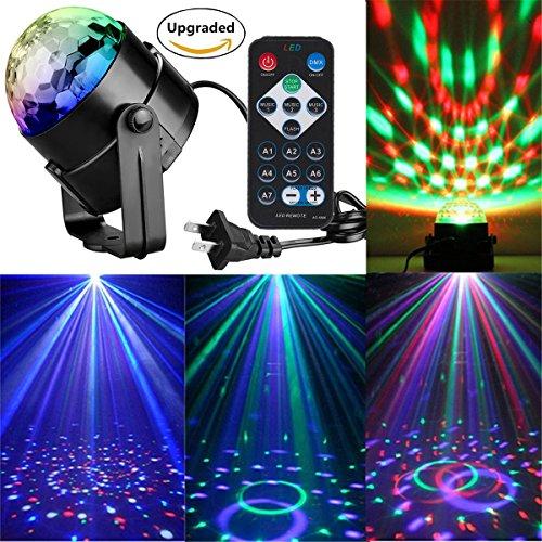 RECHING Crystal Magic Rotating Ball 2nd Generation Effect Led Stage Lights 7 Color Changing 3W RGB For KTV Lighting Xmas Party Wedding Show Club Pub Disco DJ Lighting(RGB 3W)