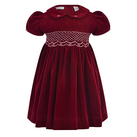 1930s Childrens Fashion: Girls, Boys, Toddler, Baby Costumes Carriage Boutique Baby Girls Maroon Corduroy Slort Sleeve Dress $66.00 AT vintagedancer.com
