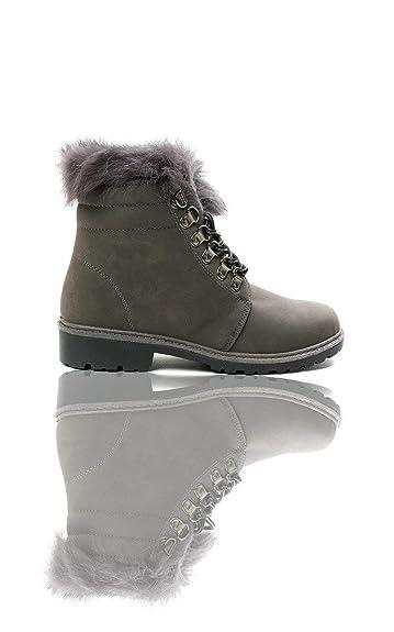 de736c937e Amazon.com | IKRUSH Womens Jody Faux Fur Lace Up Boots | Shoes