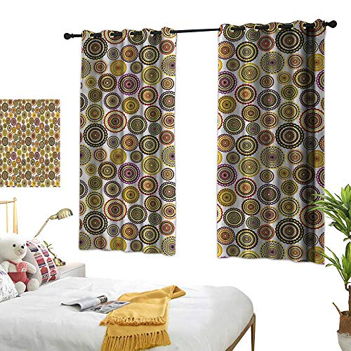 Bedroom Blackout Curtains Geometric Environmental Protection Colorful Circle Bulls Eye 72