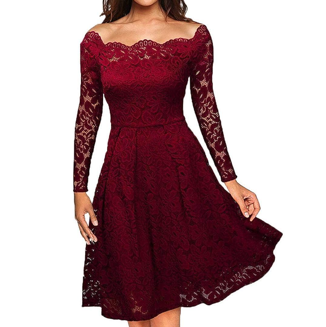 Xmiral Women Dress Off Shoulder Lace Formal Evening Party Dress Long Sleeve Knee-Length Vintage Dress