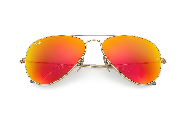 a99c320a09bf Amazon.com  Ray-Ban RB3025 Aviator 58mm Gold Orange Flash Sunglasses  Shoes