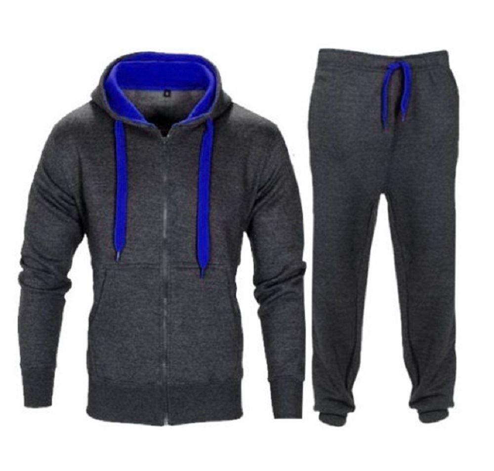Janisramone New Kids Boys Contrast Drawcord Fleece Hooded Top Bottom Set Jogging Tracksuit UK