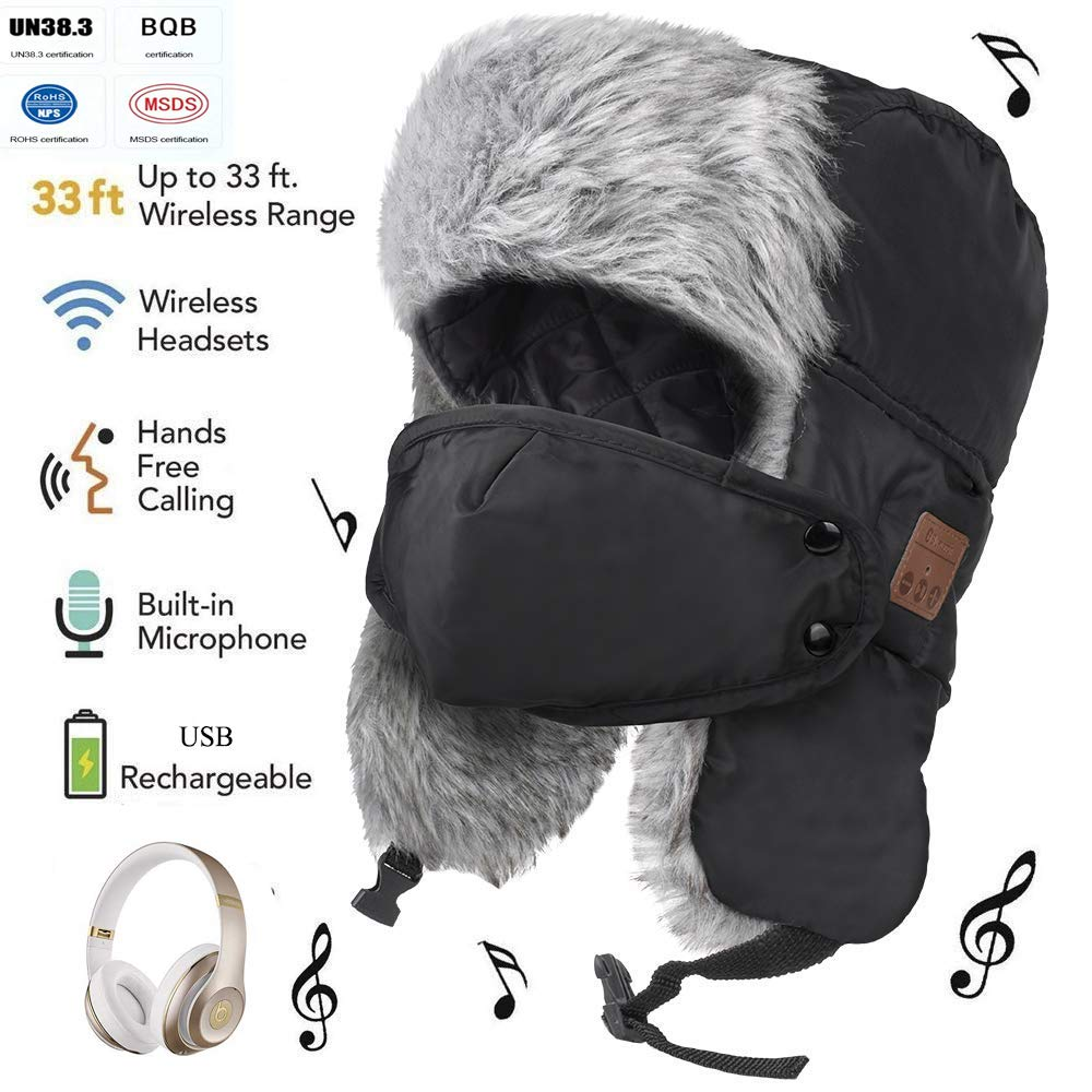6b36f73af5a1a Amazon.com  Leegoal Bluetooth Winter Trapper Hat