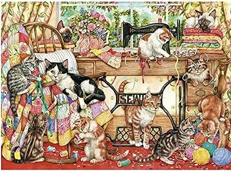 Diamante bordado gato bodegón máquina de coser 5D Diy diamante pintura cristal mosaico gato fotos artesanía fotos kit,40x55cm