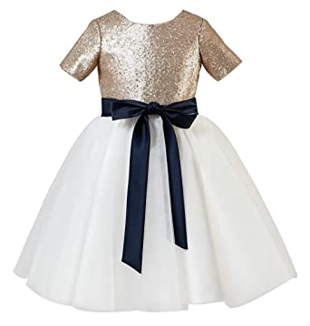 a16b67a2be0 princhar Champagne Sequin Flower Girl Dress Junior Bridesmaids Dress Kids  Dress US 2T Champagne