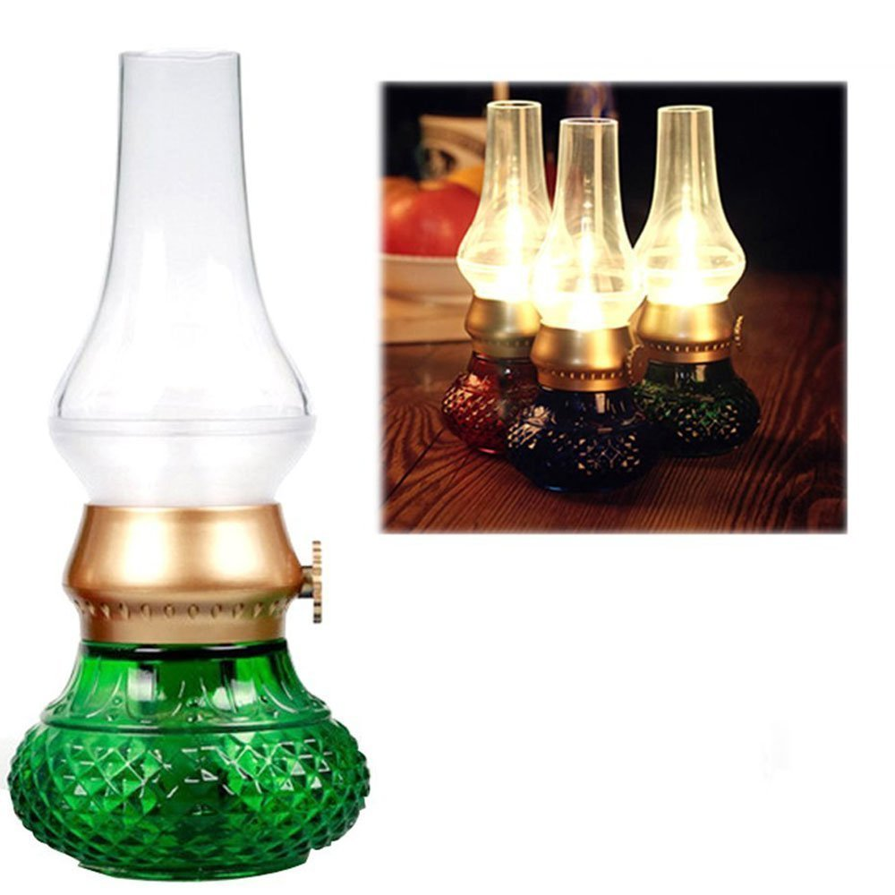 Flameless LED Light, Decorative Rechargeable Flameless Candle Lantern, Vintage Oil Table Lamp with Blow ON/Off Control, Dimmer Control Key, Kerosene Lamp, Bedside Lamp,Small Night Light (Green)
