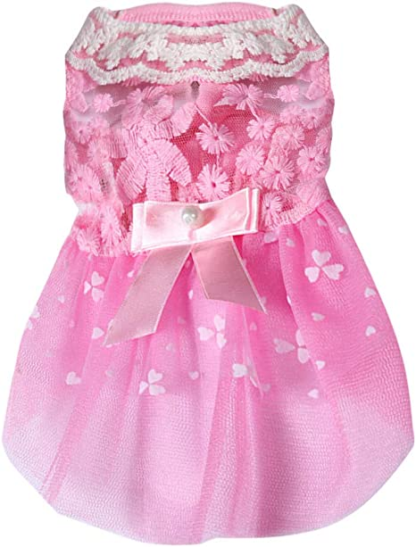Gusspower-ropa mascotas, Vestido de Princesa Encaje Bowknot ...