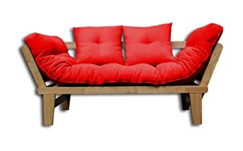 Canape Lit Sesamo Naturel Futon Rouge 200x82x32 Cm Amazon Fr