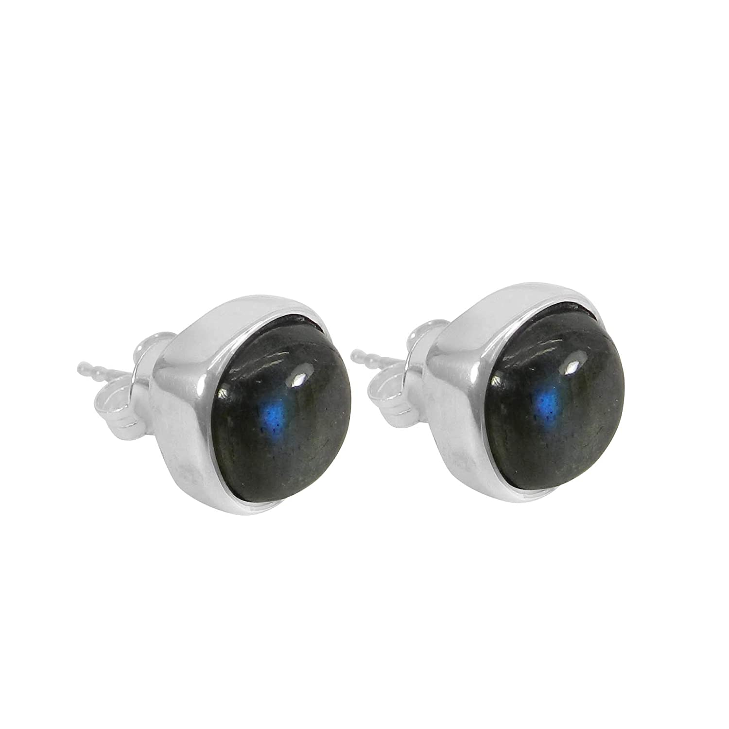 925 Sterling Silver Gemstone Cushion Stud Earrings Labradorite, Gold Plating Gift for Her