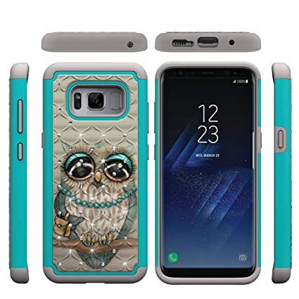 Galaxy S8 Case,Durable Impact Gel 2 in 1 Hybrid Case Soft TPU Bumper Hard PC Back Cover with Creative Pattern & Point Drill Shock Absorbent ...