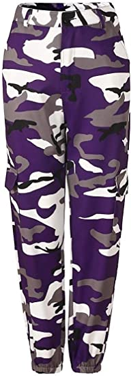 AngelSpace Womens Camo Contrast Color Multi-pocket Smocked Waist Baggy Denim Jeans