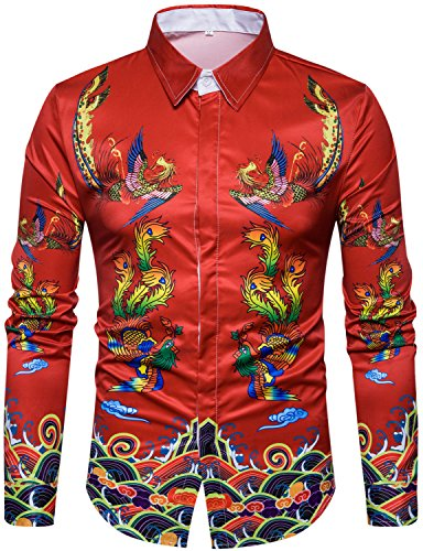 - WHATLEES Mens Luxury Ancient Chinese Dragon Printed Long Sleeve Slim Fit Casual Button Down Dress Shirts Tops T08-T4434-X-Large