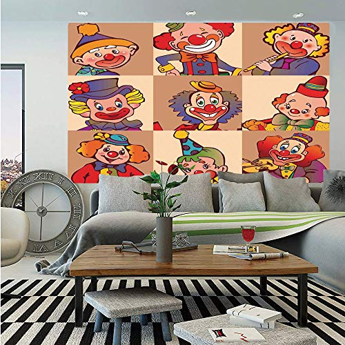 SoSung Circus Decor Wall Mural,Funny Clowns Illustration Entertaining Childhood Artistic Joke Enjoyment,Self-Adhesive Large Wallpaper for Home Decor 83x120 inches,