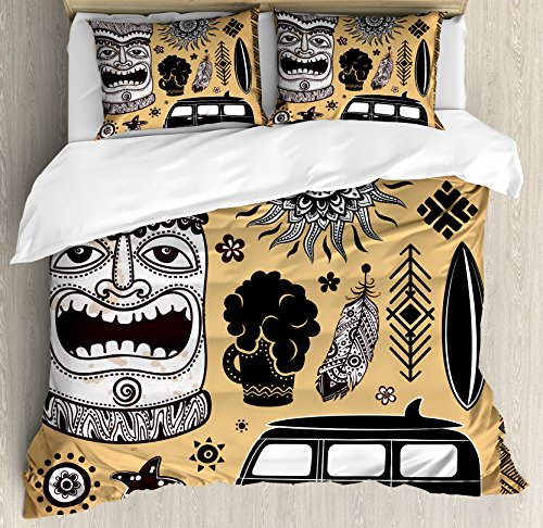 Lunarable Vintage Hawaii Duvet Cover Set Queen Size Retro Hawaii Tattoo Old School Van Surfing Board Starfish Soft Decorative 3 Piece Bedding Set with 2 Pillow Shams Pale Brown Black White