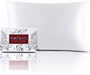 "Mellanni Silk Pillowcase Queen - 19 Momme 100% Pure Natural Mulberry Silk Pillow Case for Hair and Skin - Hidden Zipper Closure - Both Sides are Silk (Queen 20"" X 30"", White)"