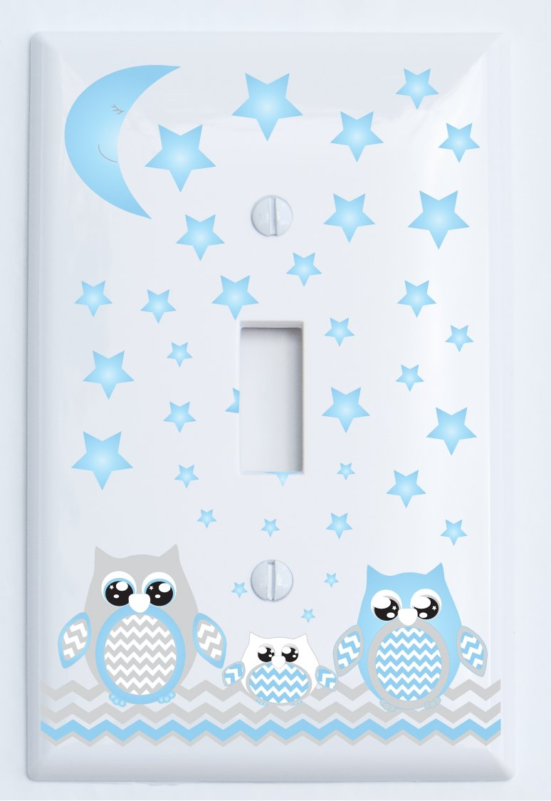 Grey and Blue Owl Light Switch Plate Covers Single Toggle/Owl Woodland Forest Animal Nursery Decor (Single Toggle Light Switch Plates)