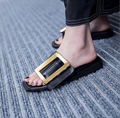Aushöhlen Flip Hausschuhe C Mode Flops 36 Sommer Flache Sandalen Farbe atmungsaktive Leichte XUE Größe Müßiggänger Büro Wanderschuhe Komfort Damenschuhe PU qnnAYP