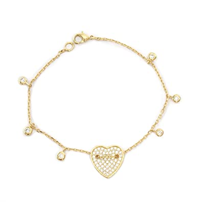 Amazon Woven heart diamond bracelet with diamond drops
