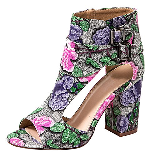 - French Blu Women's Allison Floral Cutout Ankle-High Chunky Heel Sandal, Pink, Euro 39/8-8.5 US