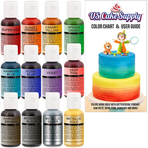 12 Color-US Cake Supply by Chefmaster Airbrush Cake Color Se