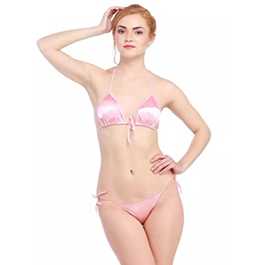 GRAPPLE DEALS Women s Lingerie Set Solid Satin Halter Neck Padded Bra and  Side Tie Panty - ba52399a8f