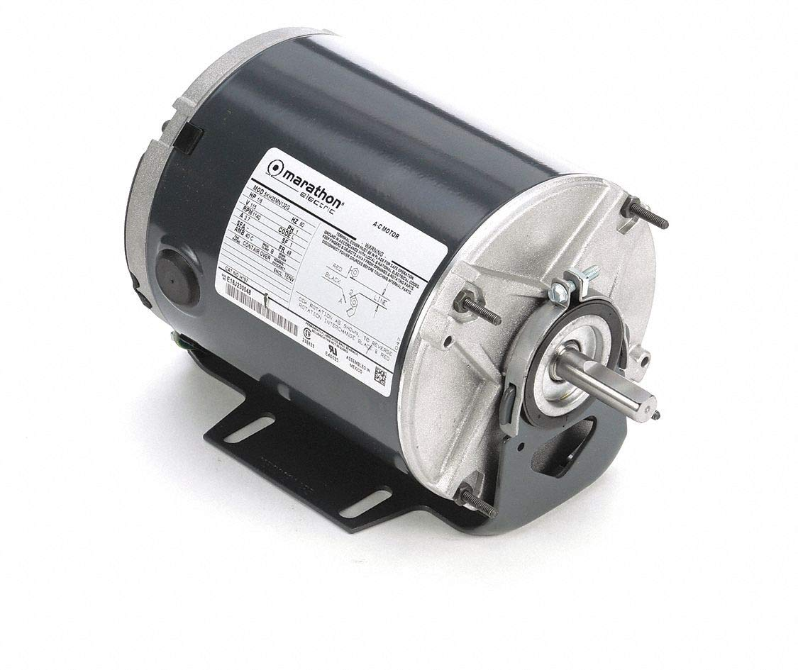 Marathon H197 48 Frame Totally Enclosed 5KH35MN132 Farm Duty Exhaust Fan Motor, 1/6 hp, 1200 RPM, 115 VAC, 1 Split Phase, 1 Speed, Ball Bearing, Resilient Base