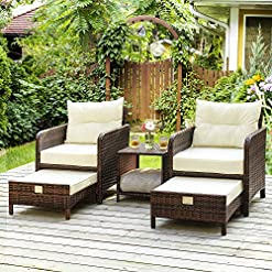 Garden and Outdoor PAMAPIC 5 Pieces Wicker Patio Furniture Set Outdoor Patio Chairs with Ottomans outdoor lounge furniture