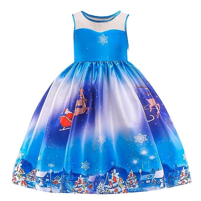 Vestido Niña, LANSKIRT Pequeños Bebés Niñas Impresión de Santa Encaje Santa muñeco de Nieve Imprimir