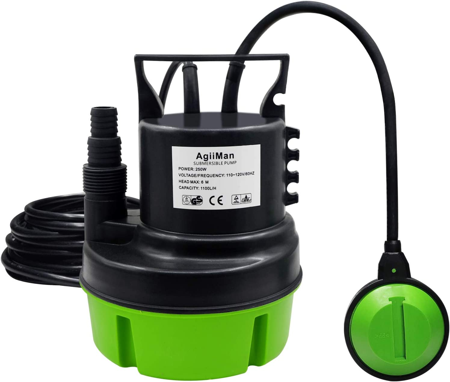 AgiiMan Sump Pump - 1/3HP 250W 1100GPH Submersible Clean Water Pump, Swimming Pool Hot Tub Drain, Float Switch and 16ft Cable