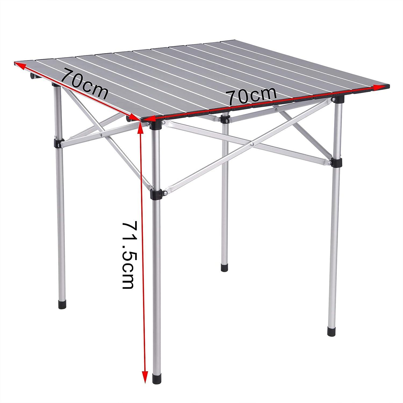 WOLTU Mesa de Camping Mesa Plegable Mesa de Jard/ín Mesa de Trabajo Mesa de Balc/ón Aluminio con Bolsa 71.5x69x70cm CPT8130sb