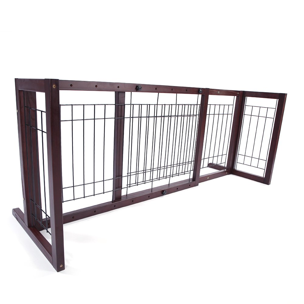 Olymstore Baby Safety Pine Fence Pet Dog Gate Safety Fence Barrier Super Wide Gate, 4 Pieces Board Adjustable Wood Door Kit Walk Free Standing Wooden for Fireplace Indoor Garden Enclosure
