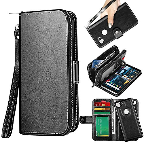ELV Designed Google Pixel 2 Case [PU Leather] Slim Folio Wallet Purse Protective Magnetic Closer [Pull tab] Cover for Google Pixel 2 - Black Blk Leather Like Cover