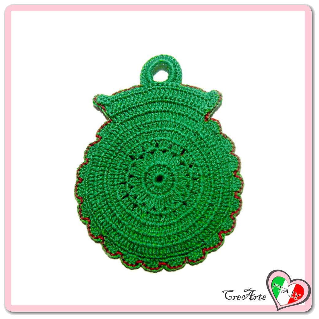 Agarradera verde de ganchillo en forma de búho - Tamaño: 13 ...