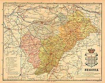 Provincia De Segovia Mapa.Amazon Com Segovia Castilla Y Leon Mapa Antiguo De La